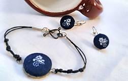 Sady šperkov - Sada náramku a náušníc z modrotlače - 7944482_