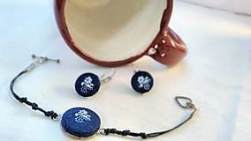 Sady šperkov - Sada náramku a náušníc z modrotlače - 7944486_