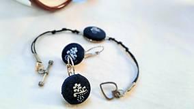 Sady šperkov - Sada náramku a náušníc z modrotlače - 7944487_