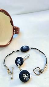 Sady šperkov - Sada náramku a náušníc z modrotlače - 7944491_