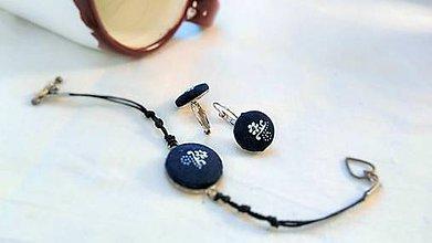 Sady šperkov - Sada náramku a náušníc z modrotlače - 7944485_