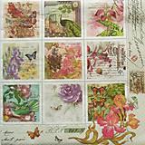 - S962 - Servítky - kvet, kvietky, známky, páv, vintage, motýľ, ruža - 7942874_