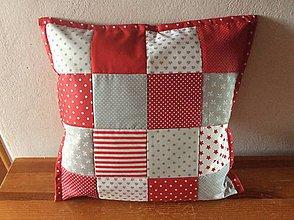 Úžitkový textil - vankúšik červený patchwork - 7943223_