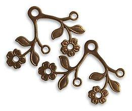 Komponenty - Mosadzný prívesok Vetvička kvet - 7943582_