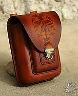 Tašky - Kožená kapsa na opasok dvojitá - 7944032_