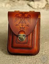 Tašky - Kožená kapsa na opasok dvojitá - 7944034_