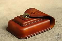 Tašky - Kožená kapsa na opasok dvojitá - 7944037_