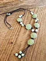 Náhrdelníky - Mätovo-zelený náhrdelník - 7943578_
