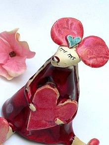 Dekorácie - figúrka myš so srdcom - 7943818_
