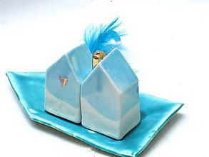 Nádoby - soľnička a korenička so zlatom v tvare domu - 7943942_