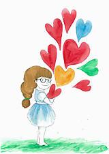 Obrázky - Girl with hearts, obrázok do izby - 7944588_