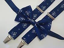 Doplnky - Pánsky motýlik a traky modrotlač - 7943665_