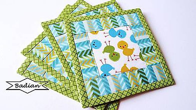 Úžitkový textil - Green Chicken ... podložky 4 ks - 7948798_