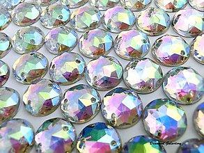 Galantéria - Ozdobné kamienky našívacie - 12 mm - AB crystal - 7948565_