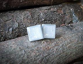 Náušnice - Štvorčeky 10 mm (strieborné) - 7947573_