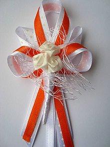 Pierka - Oranžovo-biele pierko pre svadobných otcov - 7949134_