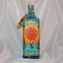 Nádoby - Darčeková fľaša Blankytná so slnečnicou - 7946081_