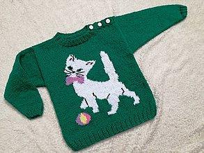 Detské oblečenie - Detský - zelený pulovrík s mačiatkom    - 7948611_