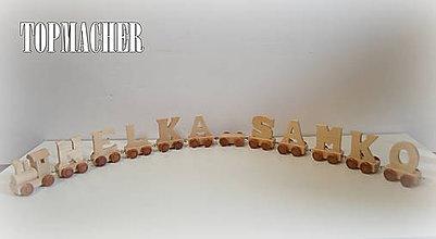 Hračky - Drevený písmenkový vláčik - NELKA a SAMKO - 7946608_