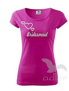Tričká - Tričko Bridesmaid so srdiečkami - 7950004_
