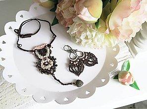 Sady šperkov - Orientálny hnedo marhuľkový set náušníc a náhrdelníka - 7947043_