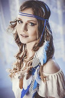 Ozdoby do vlasov - Modrá multifunkčná čelenka s perím (2 kusy) - 7948828_