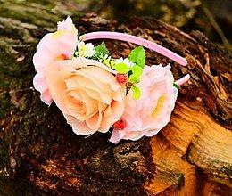 Ozdoby do vlasov - Čelenka- marhuľová ružička - 7948830_
