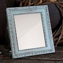 Zrkadlá - Bledomodré vintage zrkadlo - predané - 7946257_