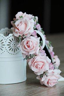 Ozdoby do vlasov - parta ružová a pierko pre ženícha- set - 7951879_