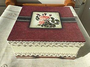 Krabičky - Krabička s ružami, štvorcová - 7951806_