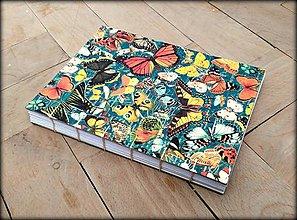 Papiernictvo - Ručne šitý zápisník/denník/diár/notes Butterfly garden A5 - 7951425_