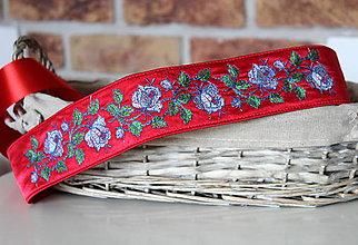 Opasky - Opasok červený - ruže - 7952525_