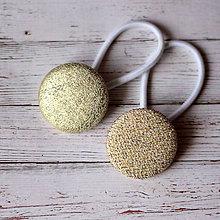 Ozdoby do vlasov - Gumičky do vlasov s buttonkami Zlaté - 7953629_