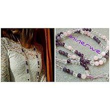 Náhrdelníky - Náhrdelník ametyst, ruženín a quartz - 7950447_