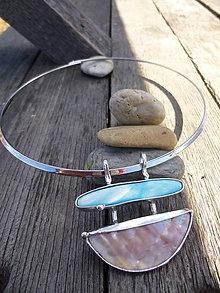 Náhrdelníky - Cínovaná obruč / perleť - 7951270_