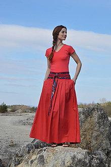 Sukne - Crochet waist skirt - indiánsky červená - 7952362_