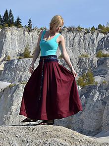 Sukne - Crochet waist skirt - burgundy - 7952667_