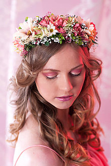 Ozdoby do vlasov - Romantický kvetinový venček - 7951492_