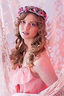 Ozdoby do vlasov - Jemný ružovučky kvetinový venček - 7951510_