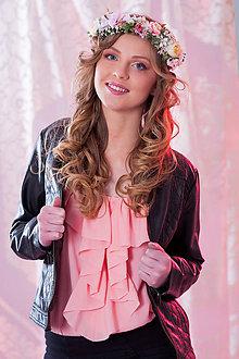 Ozdoby do vlasov - Elegantný ružovučky kvetinový venček - 7951524_