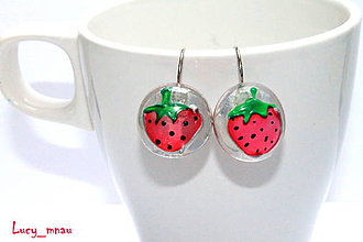 Náušnice - Náušničky ružové jahôdky :) - 7951932_