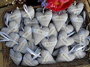 Darčeky pre svadobčanov - Svadobné srdiečka s menom - 7953234_