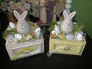 Dekorácie - zajko v šuplíku - 7951077_
