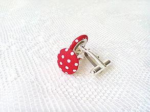 Šperky - Bodkované manžetové gombíky (červené/biele bodky) - 7958281_