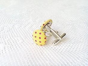 Šperky - Bodkované manžetové gombíky (žlté/fuchsia bodky) - 7958367_