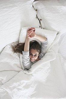Úžitkový textil - Ľanové posteľné obliečky- biele - 7957291_