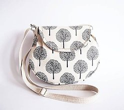 Kabelky - Malá režná kabelka - stromy - 7958364_