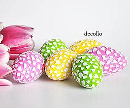 Dekorácie - Veľkonočné vajíčka - žlté, ružové, zelené - 7955219_