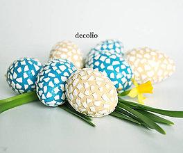 Dekorácie - AKCIA 20% Veľkonočné vajíčka - petrolejová, béžová - 7955266_