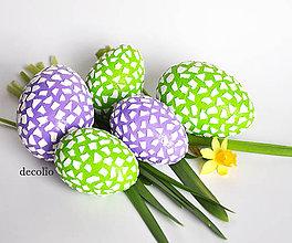 Dekorácie - AKCIA 20% Veľkonočné vajíčka - fialové, zelené - 7955297_